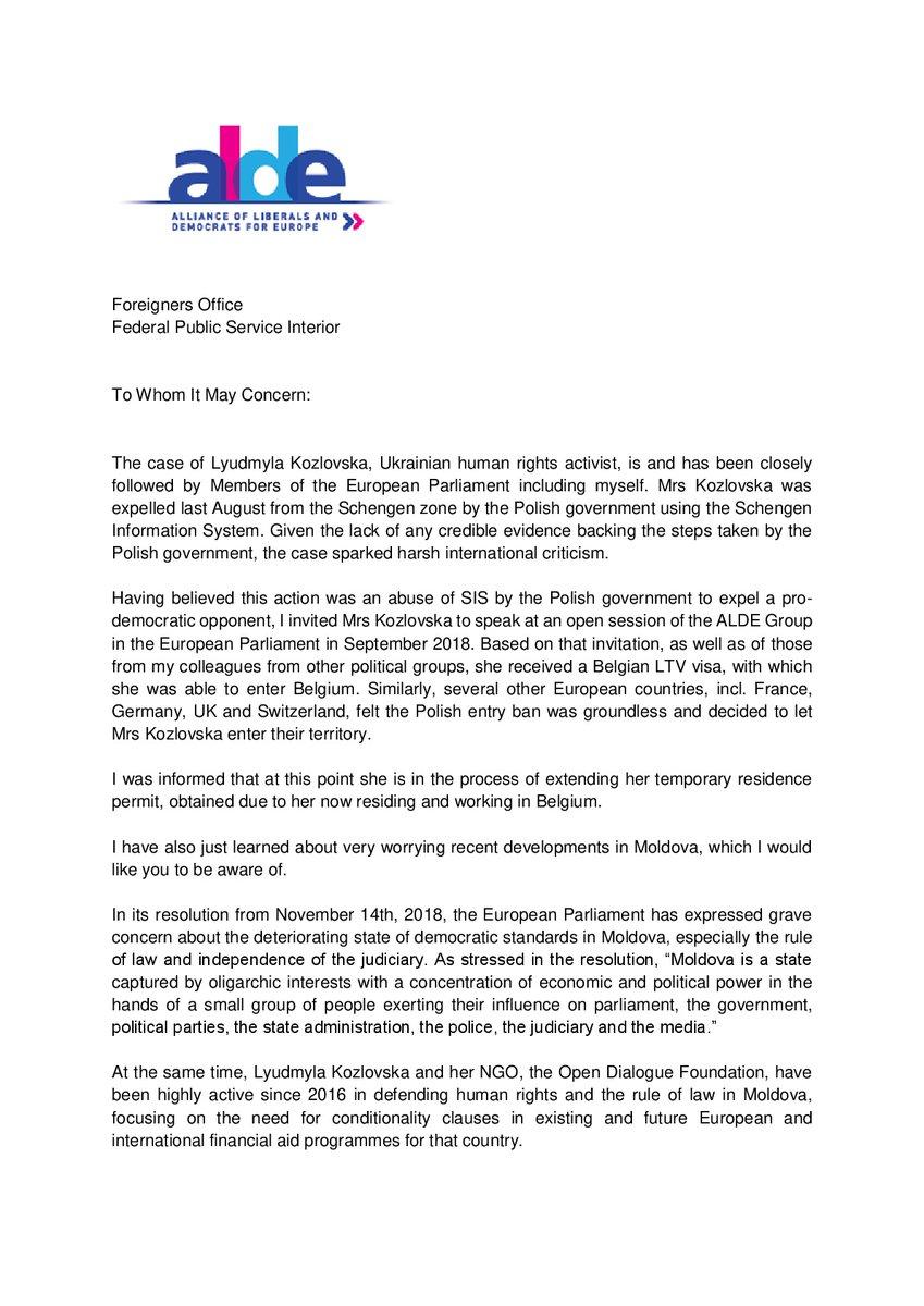 Guy Verhofstadt scrisoare Kozlowska